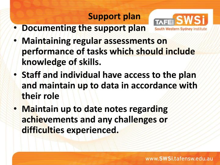 Support plan