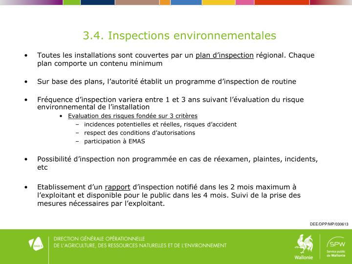 3.4. Inspections environnementales