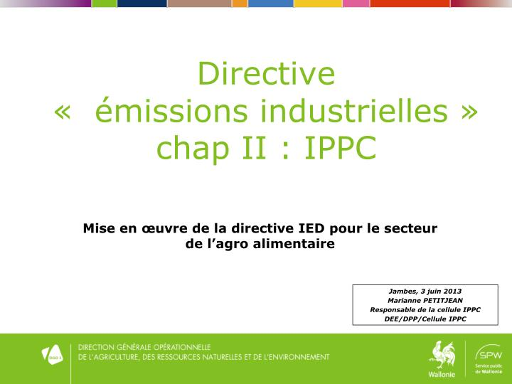 Directive missions industrielles chap ii ippc