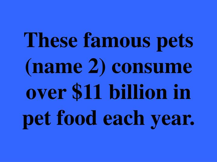These famous pets (name 2) consume over $11 billion in pet food each year.