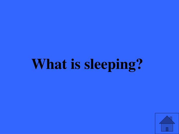 What is sleeping?