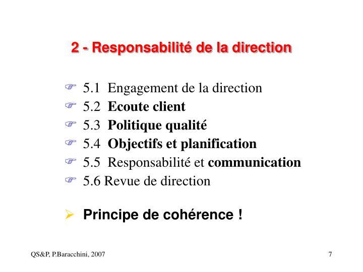 2 - Responsabilité de la direction