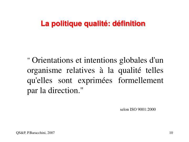 La politique qualité: définition