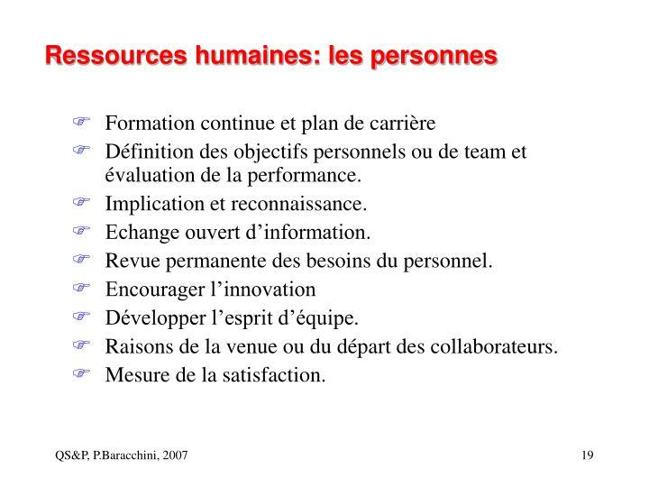 Ressources humaines: les personnes