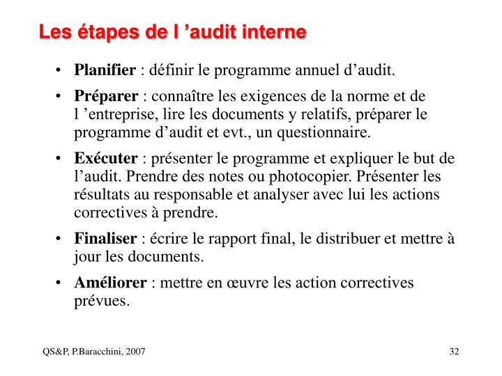 Les étapes de l 'audit interne