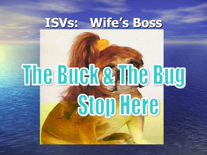 ISVs:   Wife's Boss