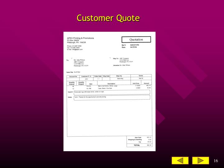 Customer Quote