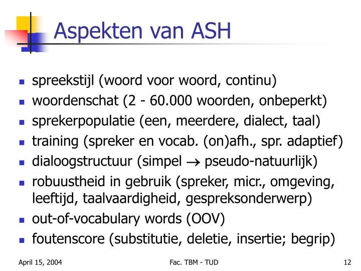 Aspekten van ASH