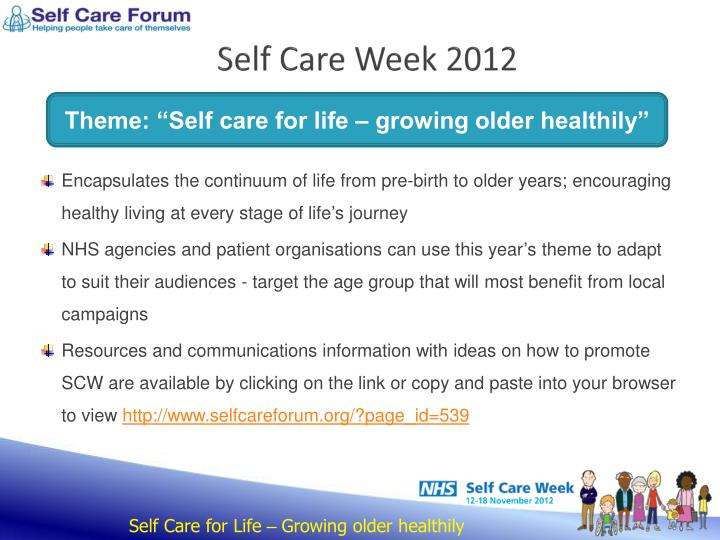 Self care week 2012
