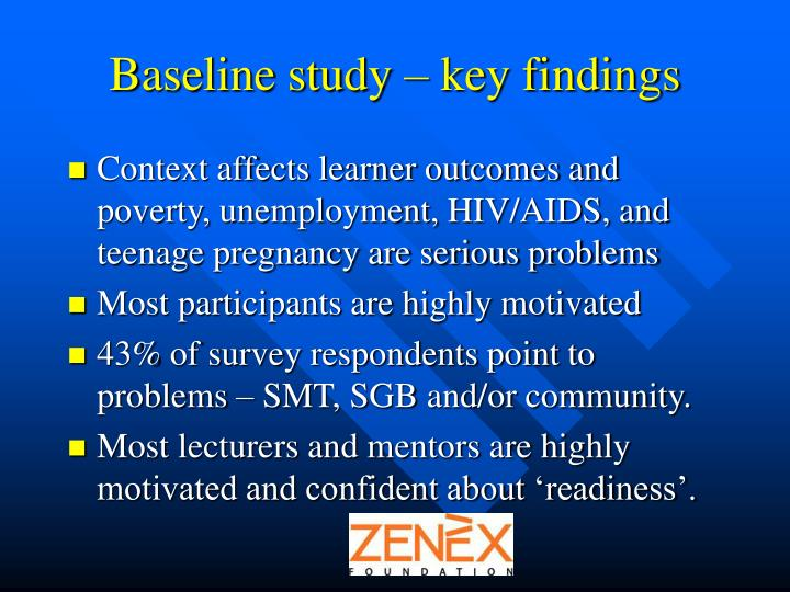 Baseline study – key findings