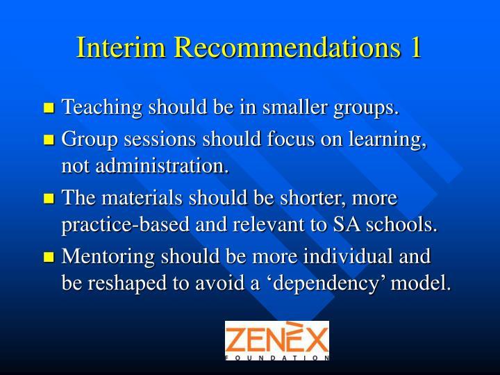 Interim Recommendations 1