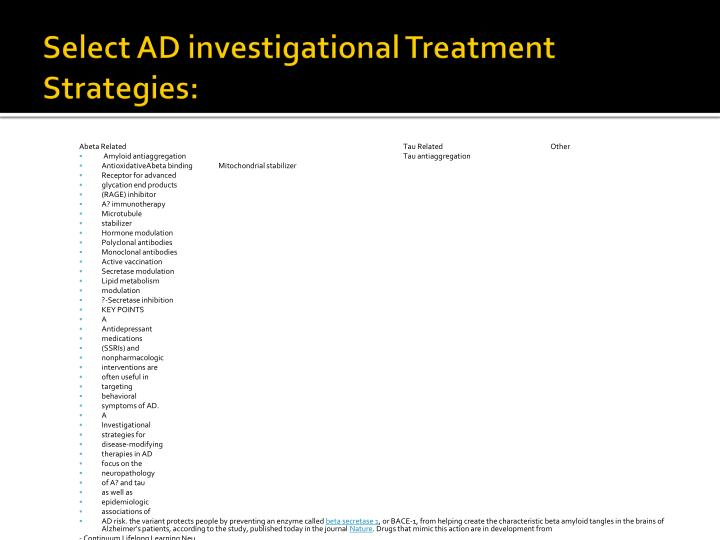 Select AD investigational Treatment