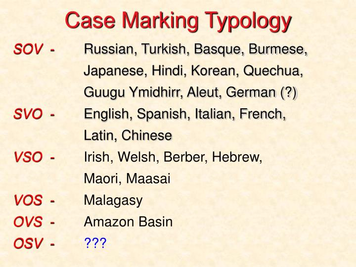 Case Marking Typology