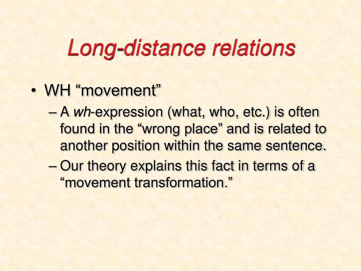 Long-distance relations