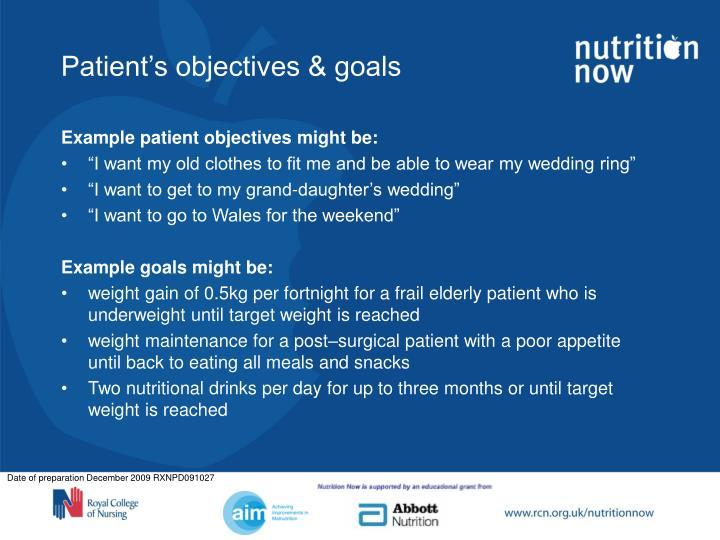 Patient's objectives & goals
