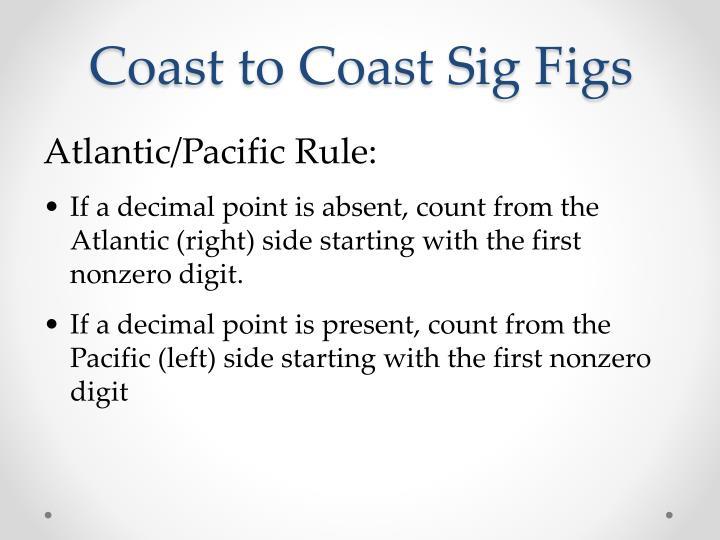 Coast to Coast Sig Figs