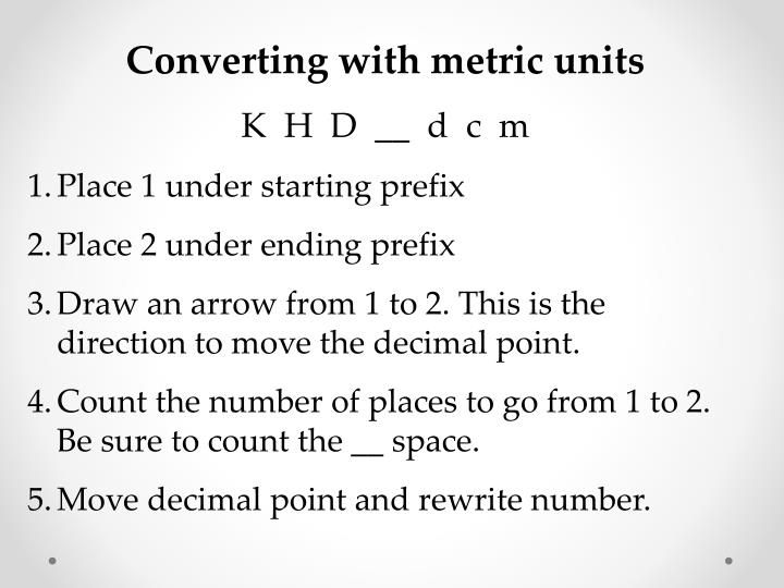 Converting with metric units