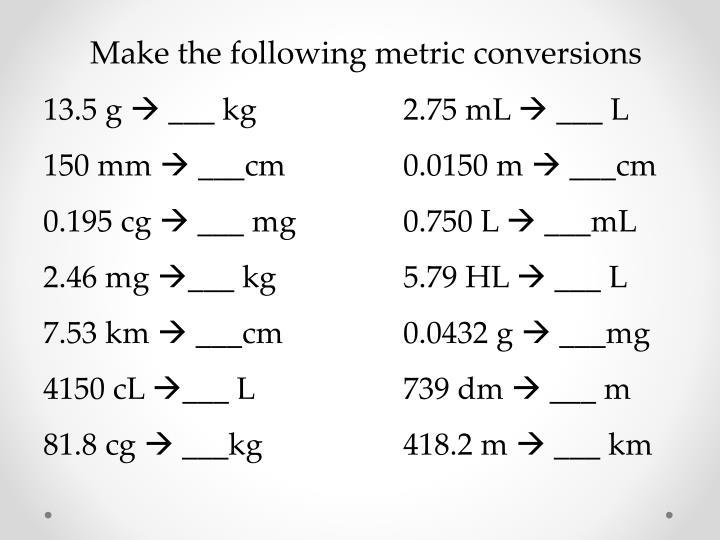 Make the following metric