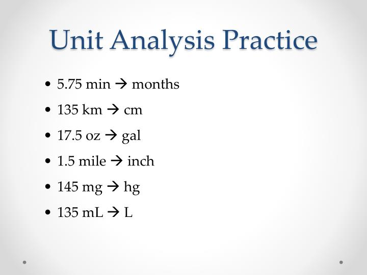 Unit Analysis