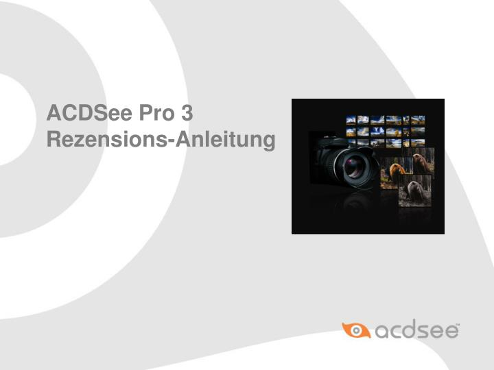 Acdsee pro 3 rezensions anleitung