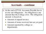 accruals continue