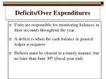 deficits over expenditures