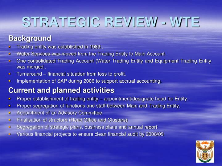 STRATEGIC REVIEW - WTE