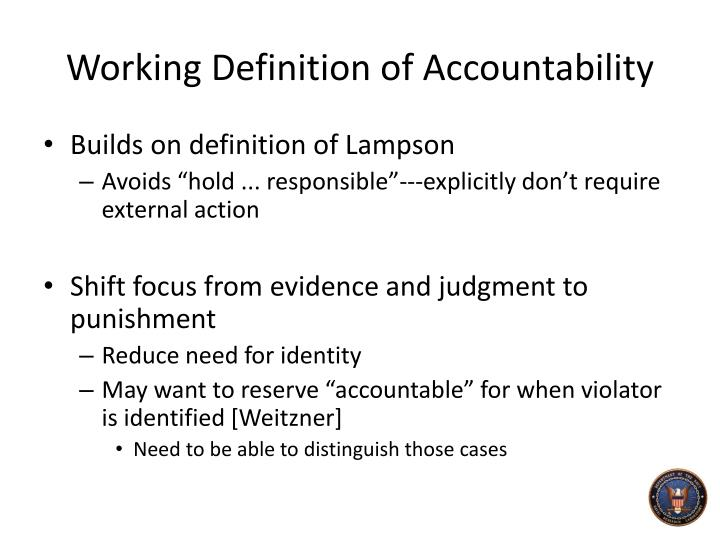Working Definition of Accountability