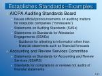 establishes standards examples