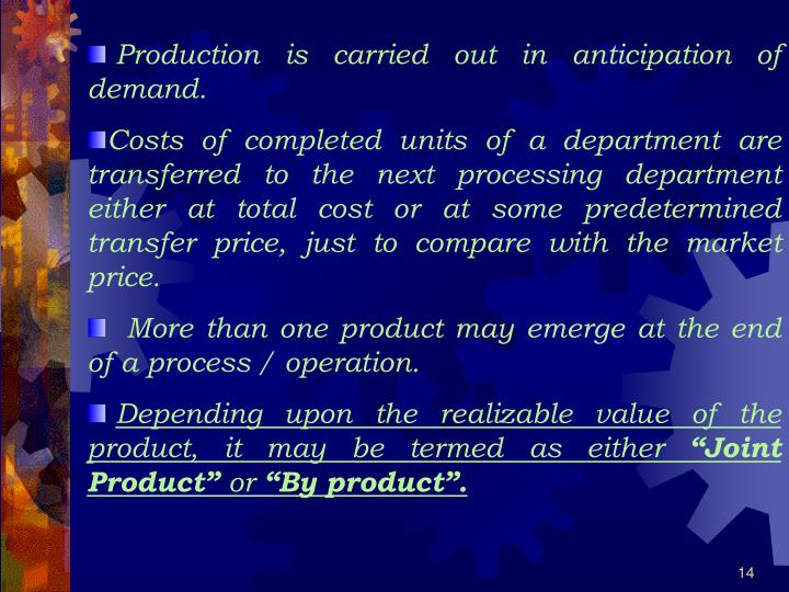 Production is carried out in anticipation of demand.