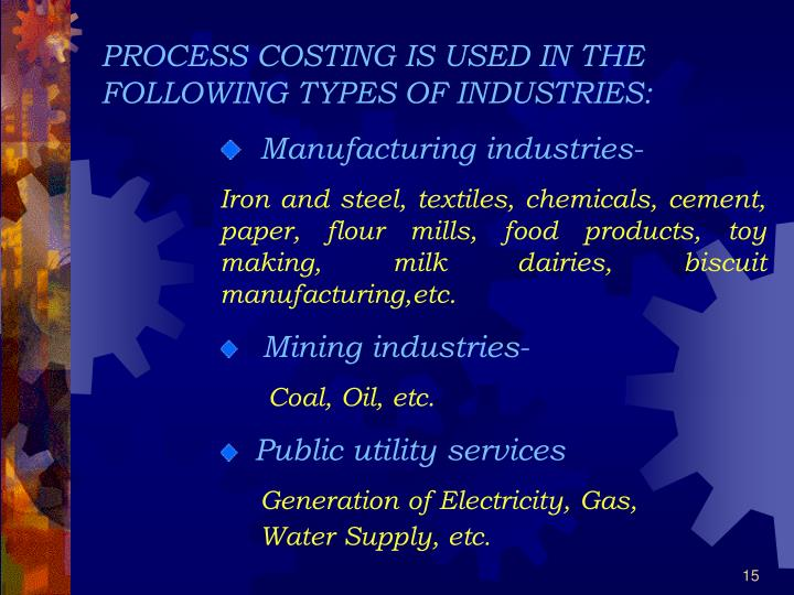 PROCESS COSTING IS USED IN THE FOLLOWING TYPES OF INDUSTRIES: