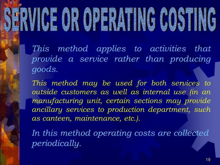 SERVICE OR OPERATING COSTING