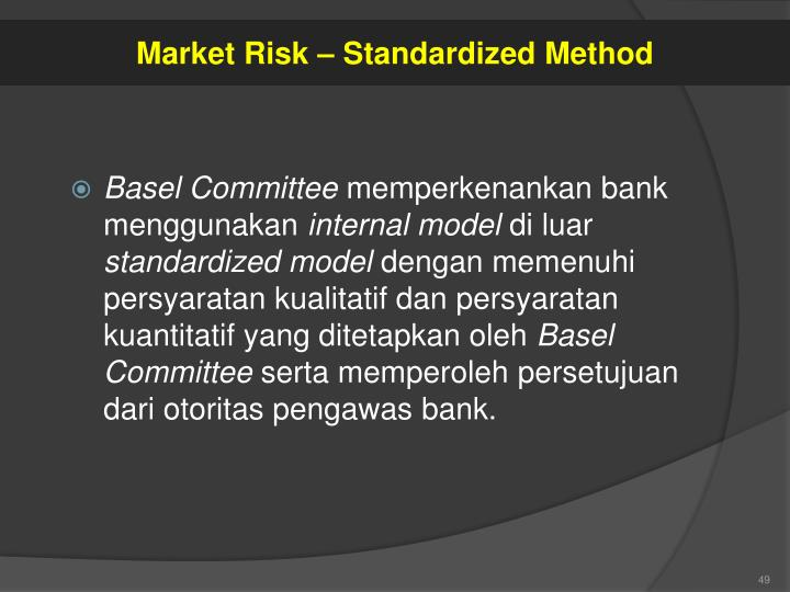 Market Risk – Standardized Method