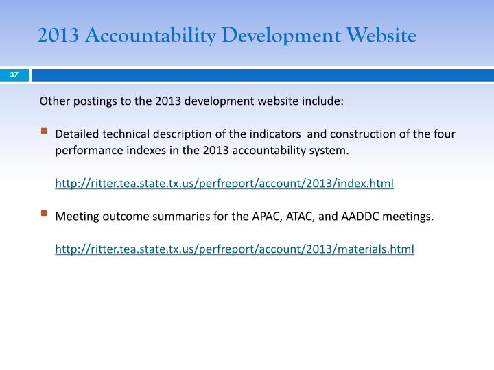 2013 Accountability Development Website