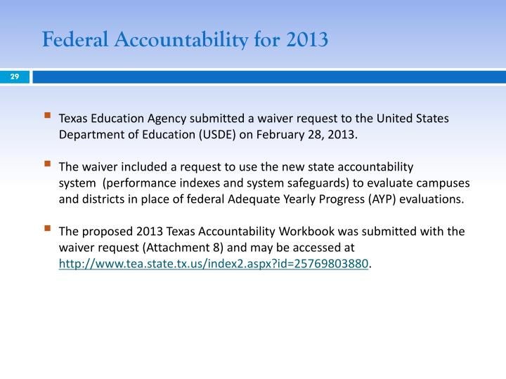 Federal Accountability for 2013