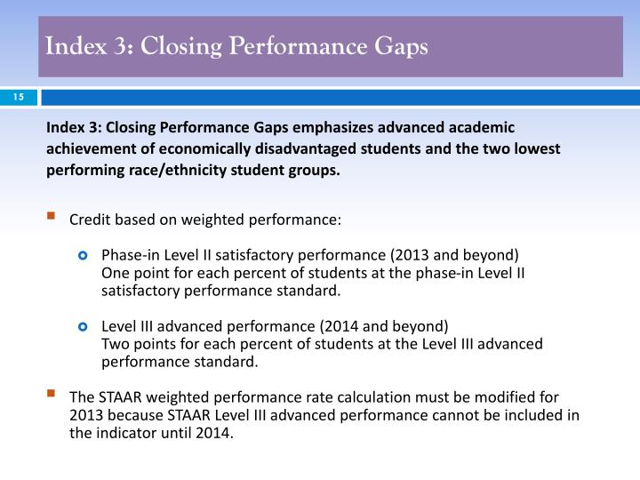 Index 3: Closing Performance Gaps
