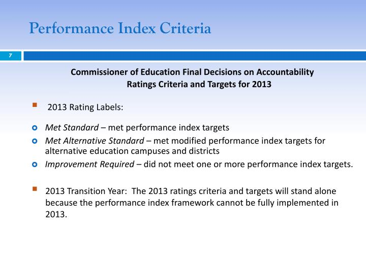 Performance Index Criteria