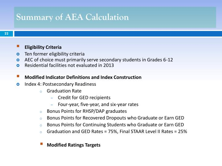 Summary of AEA Calculation