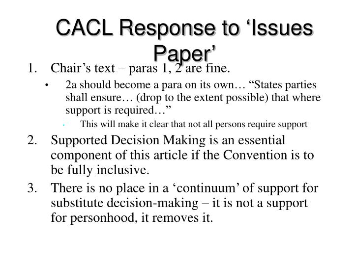 CACL Response to 'Issues Paper'