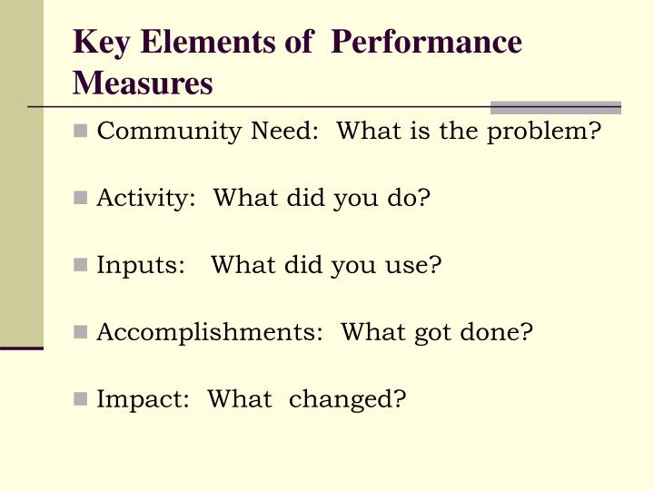 Key Elements of  Performance Measures