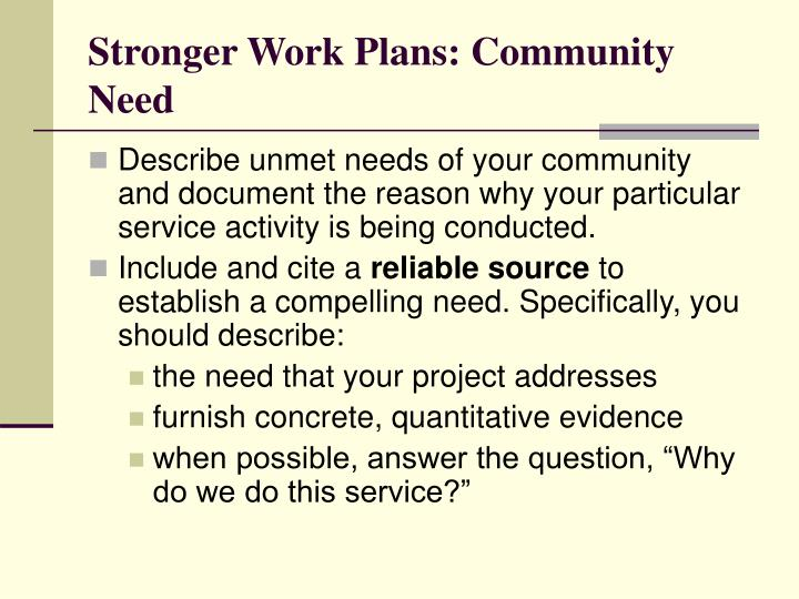 Stronger Work Plans: Community Need