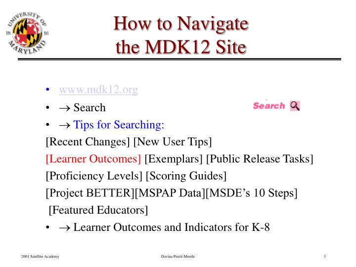 How to navigate the mdk12 site
