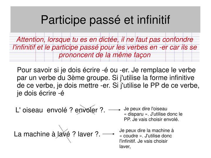 Attention, lorsque tu es en dictée, il ne faut pas confondre l'infinitif et le participe passé pour les verbes en -er car ils se prononcent de la même façon