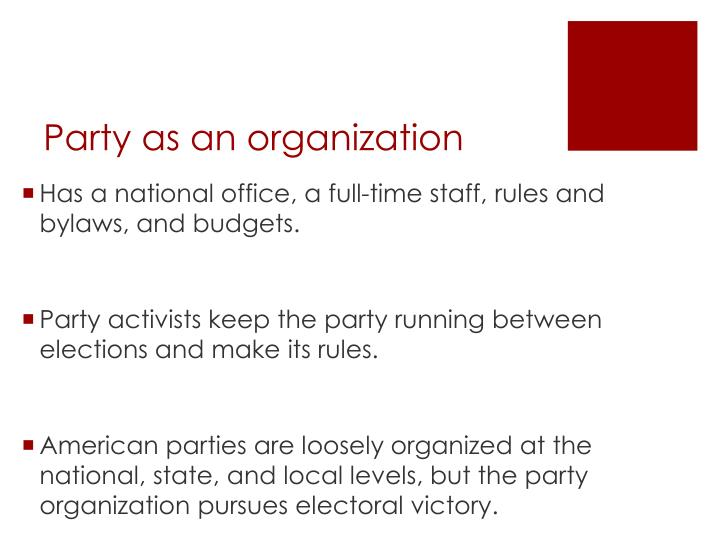 Party as an organization