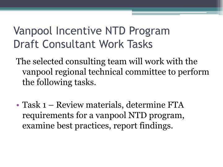 Vanpool Incentive NTD Program