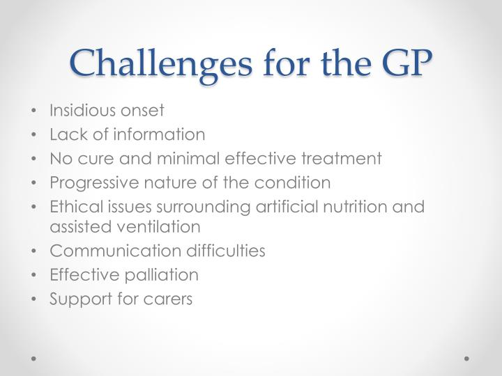 Challenges for the GP