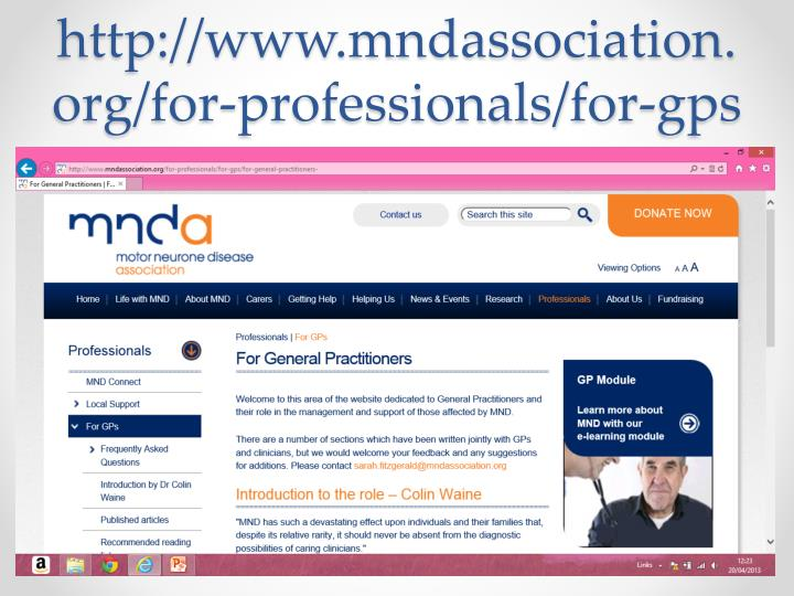 http://www.mndassociation.org/for-professionals/for-gps