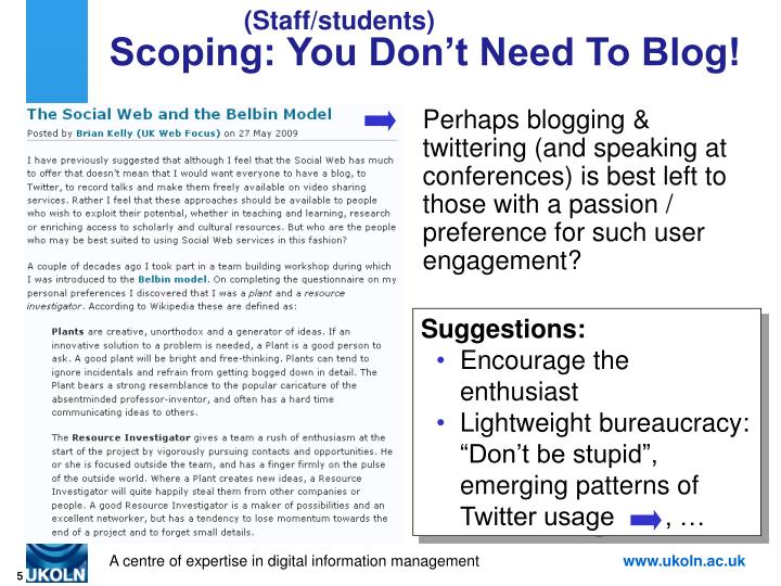 Scoping: You Don't Need To Blog!