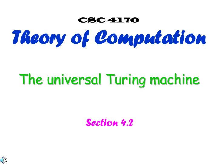The universal turing machine