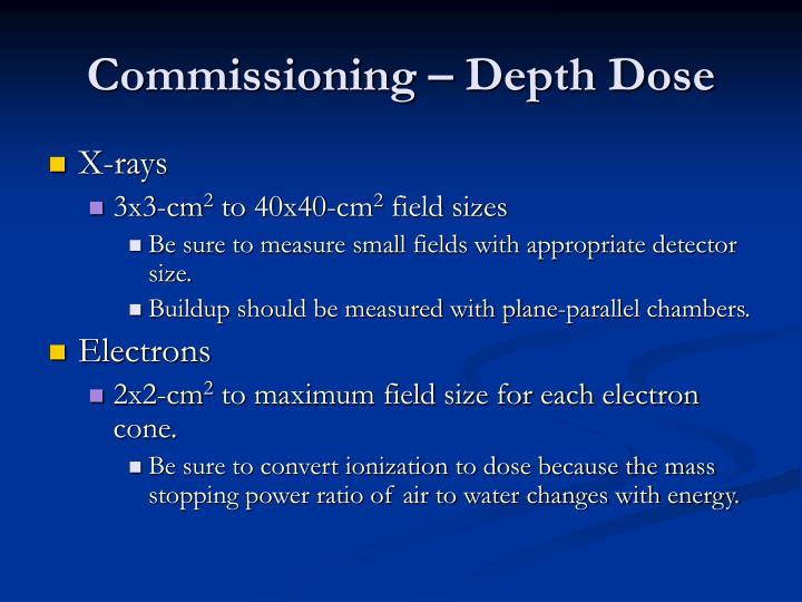 Commissioning – Depth Dose